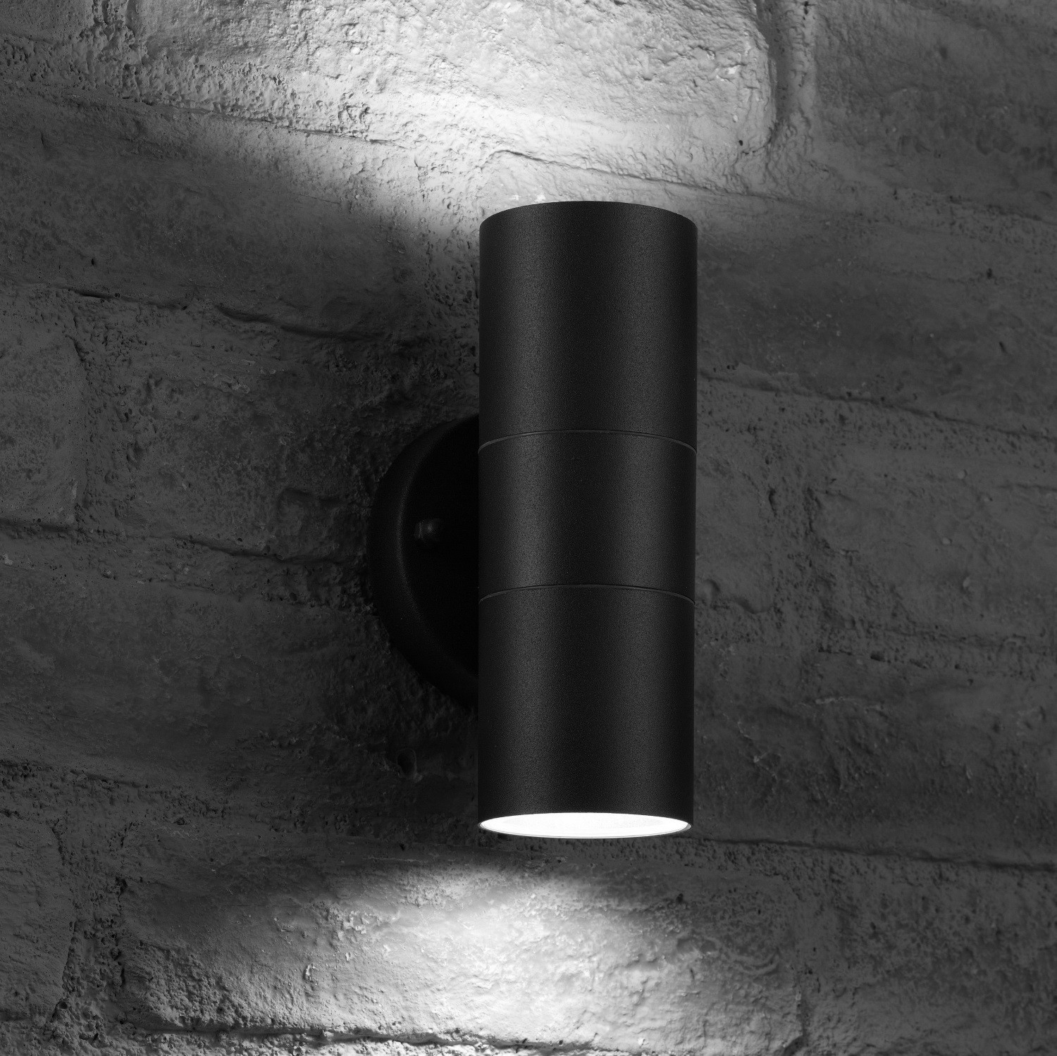 Illucio Black Up / Down IP44 50W MAX GU10 Outdoor Wall Light Fitting