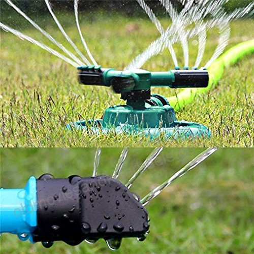 Garden Sprinkler,3 Nozzles Lawn Sprinklers, 360°Automatic Rotating Water Sprinkler System, Green and Black